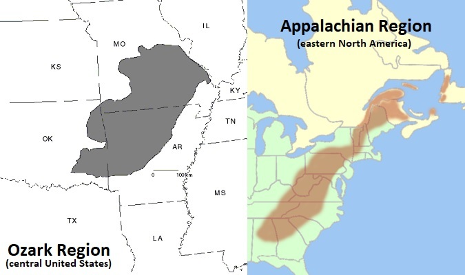 Subregions of the Appalachian and Ozark Regions on